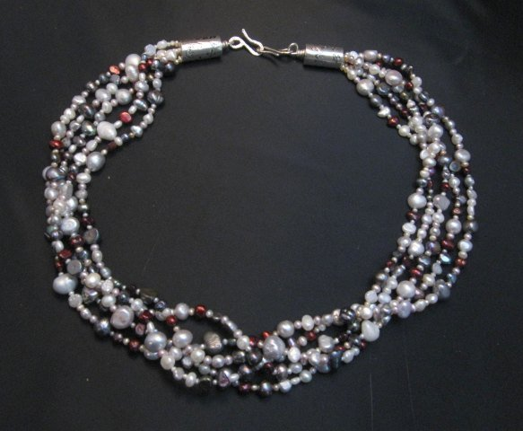 Image 3 of Everett Mary Teller Navajo Freshwater and Saltwater Pearl Necklace