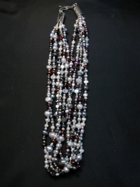 Image 6 of Everett Mary Teller Navajo Freshwater and Saltwater Pearl Necklace