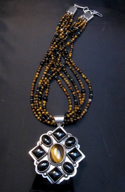 Image 2 of Big Navajo Tiger Eye Onyx Pendant Bead Necklace by Everett & Mary Teller