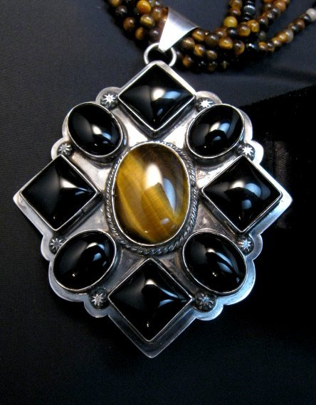 Image 1 of Big Navajo Tiger Eye Onyx Pendant Bead Necklace by Everett & Mary Teller