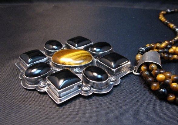 Image 4 of Big Navajo Tiger Eye Onyx Pendant Bead Necklace by Everett & Mary Teller