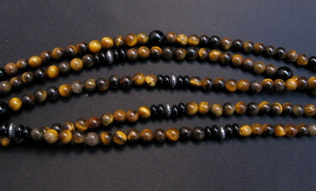 Image 6 of Big Navajo Tiger Eye Onyx Pendant Bead Necklace by Everett & Mary Teller
