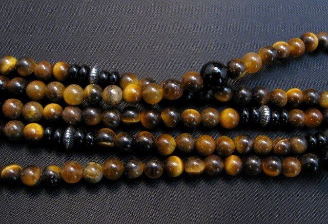 Image 5 of Big Navajo Tiger Eye Onyx Pendant Bead Necklace by Everett & Mary Teller