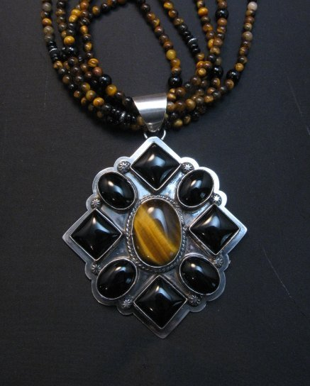 Image 7 of Big Navajo Tiger Eye Onyx Pendant Bead Necklace by Everett & Mary Teller