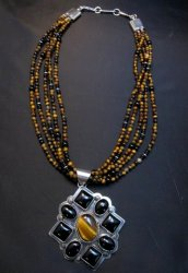 Big Navajo Tiger Eye Onyx Pendant Bead Necklace by Everett & Mary Teller