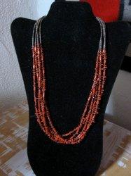 Navajo Native American 5-strand Mediterranean Coral Necklace Everett Mary Teller
