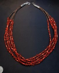 Navajo Native American 5-strand Mediterranean Coral Necklace Everett Mary Teller