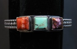 Navajo Turquoise Spiny Oyster Stacker Cuff Bracelet, Everett & Mary Teller