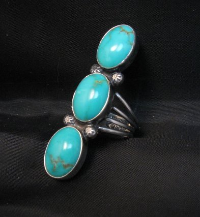 Image 0 of Navajo 3-Stone Turquoise Silver Ring Everett Mary Teller sz7