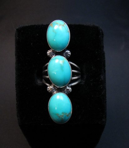 Image 1 of Navajo 3-Stone Turquoise Silver Ring Everett Mary Teller sz7