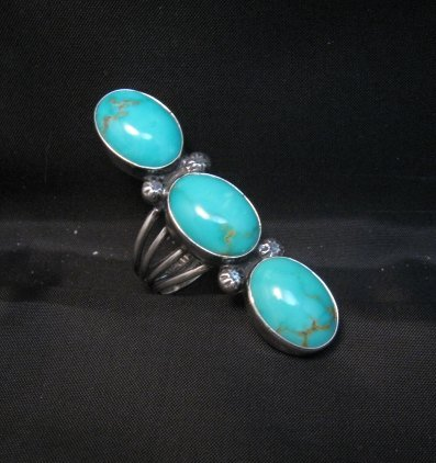 Image 3 of Navajo 3-Stone Turquoise Silver Ring Everett Mary Teller sz7