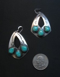 Navajo Stamped 3-Stone Turquoise Earrings, Everett and Mary Teller