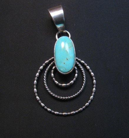 Image 0 of Navajo Kingman Turquoise 3-Wire Hoop Pendant, Everett & Mary Teller