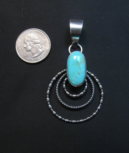Image 1 of Navajo Kingman Turquoise 3-Wire Hoop Pendant, Everett & Mary Teller