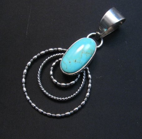 Image 2 of Navajo Kingman Turquoise 3-Wire Hoop Pendant, Everett & Mary Teller