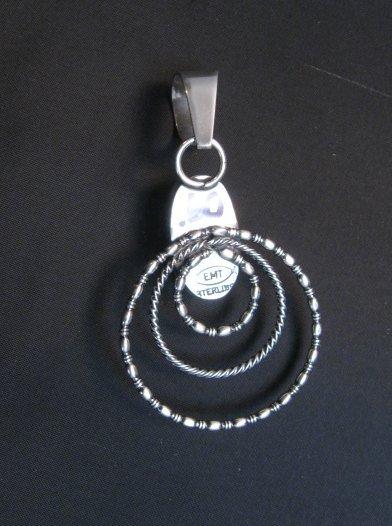 Image 3 of Navajo Kingman Turquoise 3-Wire Hoop Pendant, Everett & Mary Teller