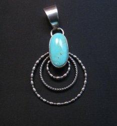 Navajo Kingman Turquoise Twist Wire Hoop Earrings, Everett & Mary Teller