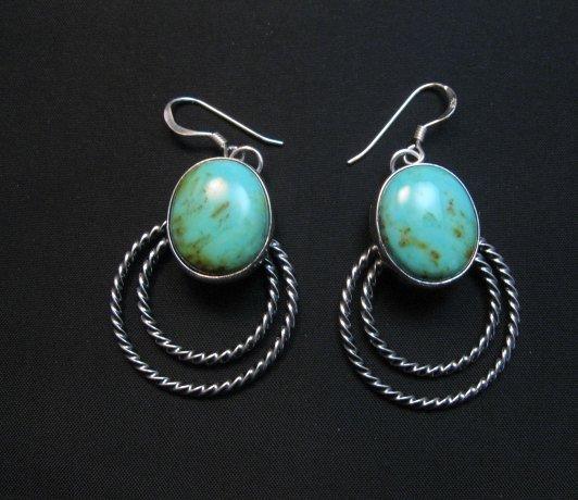 Image 0 of Navajo Kingman Turquoise Twist Wire Hoop Earrings, Everett & Mary Teller