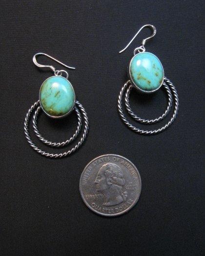 Image 1 of Navajo Kingman Turquoise Twist Wire Hoop Earrings, Everett & Mary Teller