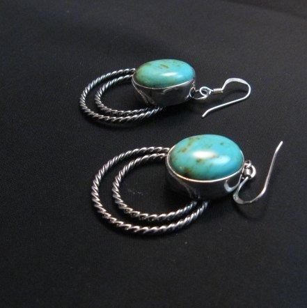 Image 2 of Navajo Kingman Turquoise Twist Wire Hoop Earrings, Everett & Mary Teller