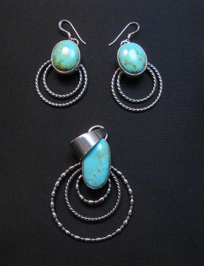 Image 4 of Navajo Kingman Turquoise Twist Wire Hoop Earrings, Everett & Mary Teller