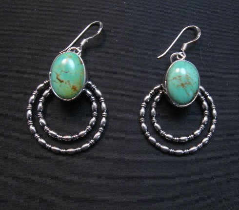 Image 0 of Navajo Kingman Turquoise Beaded Wire Hoop Earrings, Everett & Mary Teller