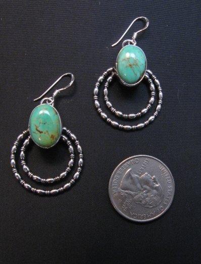 Image 1 of Navajo Kingman Turquoise Beaded Wire Hoop Earrings, Everett & Mary Teller