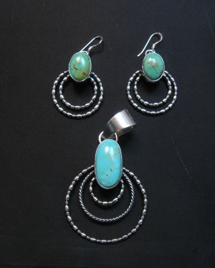 Image 2 of Navajo Kingman Turquoise Beaded Wire Hoop Earrings, Everett & Mary Teller