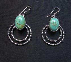 Navajo Kingman Turquoise Beaded Wire Hoop Earrings, Everett & Mary Teller