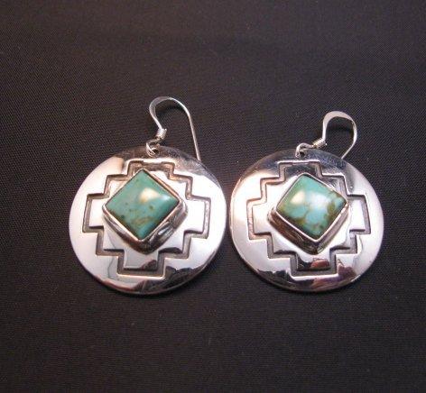 Image 0 of Navajo Turquoise Sterling Silver Overlay Earrings, Everett & Mary Teller