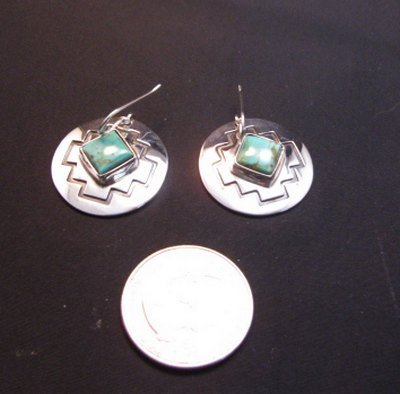 Image 1 of Navajo Turquoise Sterling Silver Overlay Earrings, Everett & Mary Teller