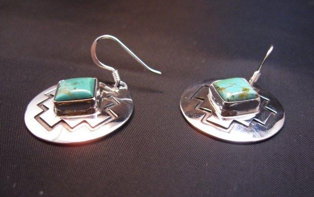 Image 2 of Navajo Turquoise Sterling Silver Overlay Earrings, Everett & Mary Teller