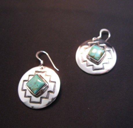 Image 3 of Navajo Turquoise Sterling Silver Overlay Earrings, Everett & Mary Teller