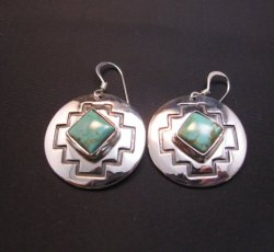 Navajo Turquoise Sterling Silver Overlay Earrings, Everett & Mary Teller