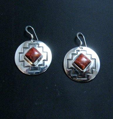 Image 0 of Navajo Native American Spiny Oyster Overlay Earrings, Everett & Mary Teller