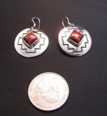 Image 1 of Navajo Native American Spiny Oyster Overlay Earrings, Everett & Mary Teller