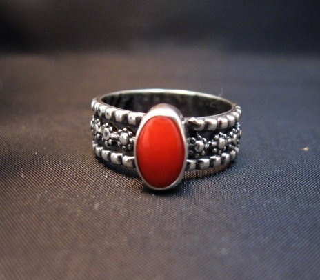 Image 0 of Navajo Coral Sterling Silver Band Ring Everett and Mary Teller sz8