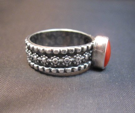 Image 1 of Navajo Coral Sterling Silver Band Ring Everett and Mary Teller sz8