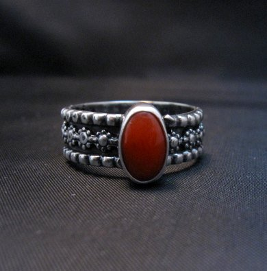 Image 3 of Navajo Coral Sterling Silver Band Ring Everett and Mary Teller sz8