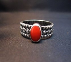 Navajo Coral Sterling Silver Band Ring Everett and Mary Teller sz8