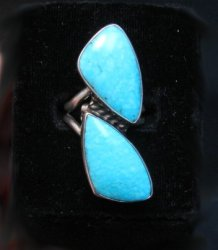 Everett Mary Teller Navajo Highgrade Kingman Ring sz6 to sz10 adjustable