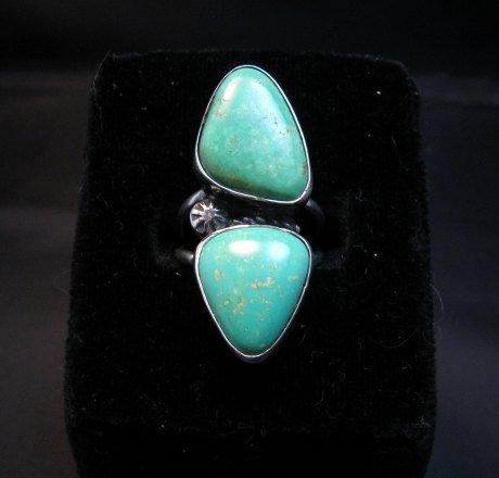 Image 0 of Navajo 2-Stone Royston Turquoise S/S Ring Everett Mary Teller sz7