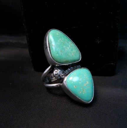 Image 1 of Navajo 2-Stone Royston Turquoise S/S Ring Everett Mary Teller sz7
