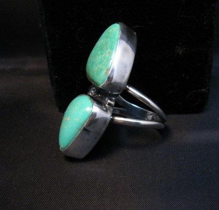 Image 2 of Navajo 2-Stone Royston Turquoise S/S Ring Everett Mary Teller sz7