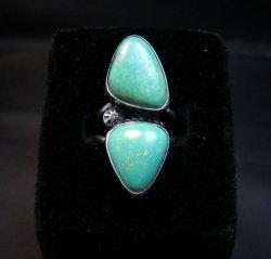 Navajo 2-Stone Royston Turquoise S/S Ring Everett Mary Teller sz7