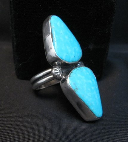 Image 2 of Everett Mary Teller Navajo Double Kingman Turquoise Ring sz7 to sz9 adjustable