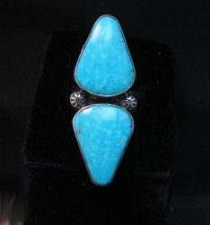 Everett Mary Teller Navajo Double Kingman Turquoise Ring sz7 to sz9 adjustable