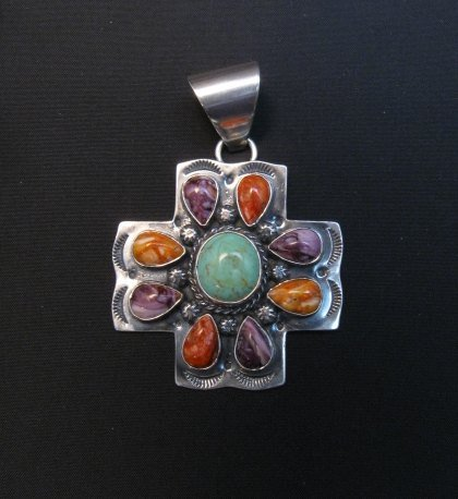 Image 1 of Navajo Turquoise Spiny Oyster Cross Pendant, Everett & Mary Teller