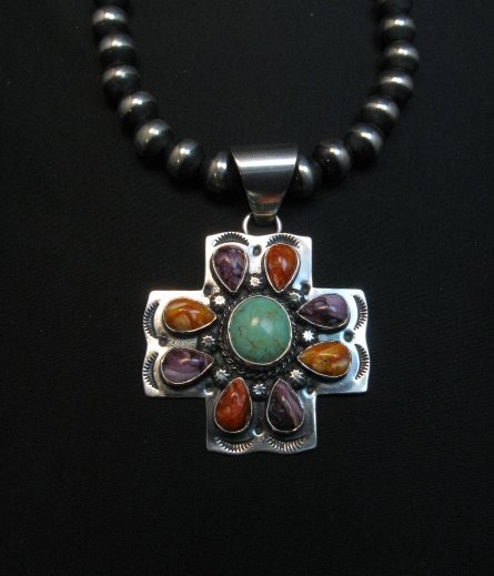 Image 0 of Navajo Turquoise Spiny Oyster Cross Pendant, Everett & Mary Teller