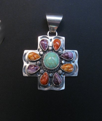 Image 4 of Navajo Turquoise Spiny Oyster Cross Pendant, Everett & Mary Teller